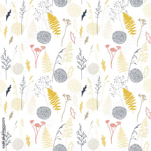 wektor-kwiatowy-wzor-z-dzikich-lakowych-traw-lisci-paproci-i-stylizowane-kwiaty-kontury
