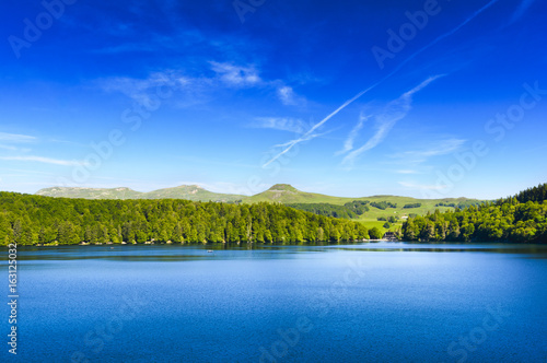 Photo Stands Dark blue Landscape of Lake Pavin in Auvergne