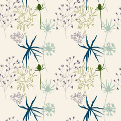 Fototapeta Floral vector seamless pattern with cornflowers, thistles and grasses.