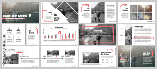 Fotografie, Obraz  Red and gray elements for infographics on a white background