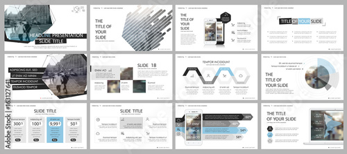 Fotografía  Blue gray and black elements for infographics on a white background