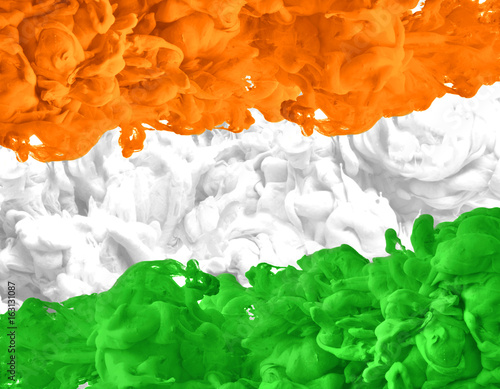 Indian Flag Coloring Page: Acrylic Colors And Ink In Water. Ink Swirling In Water