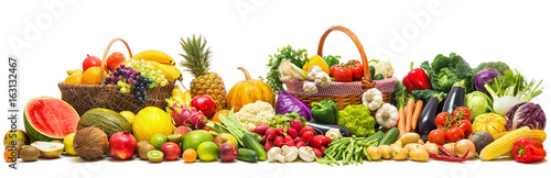 Deurstickers Verse groenten Vegetables and fruits background