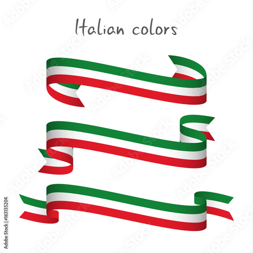 Fotografiet  Set of three modern colored vector ribbon with the Italian tricolor isolated on