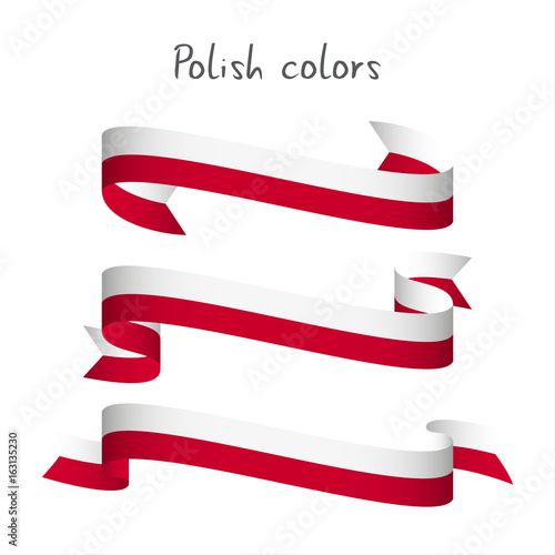 Fototapeta Set of three modern colored vector ribbon with the Polish colors isolated on white background, abstract Polish flag, Made in Poland logo obraz