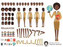 Vector Constructor Of Female Character. Afroamerican Teacher Pointing. Vector Different Body Parts And Elements Set