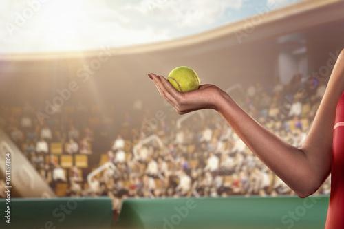 Plakat ludzka ręka trzyma piłkę tenisową