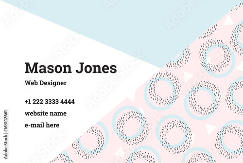 Business card template in the style of memphis a perfect a perfect combination of pink and blue pastel colors pattern of geometric shapes circles and triangles uk standard size 85x55 mm with bleed size reheart Image collections