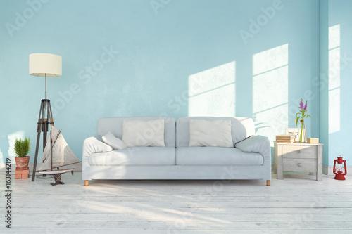 Skandinavisches, Nordisches Wohnzimmer   Sofa   Couch   Textfreiraum    Platzhalter   Maritime Dekoration