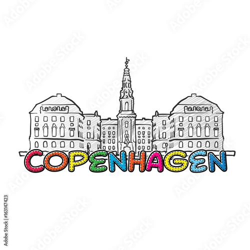 Copenhagen beautiful sketched icon Poster