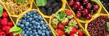 Fresh Berries In Baskets