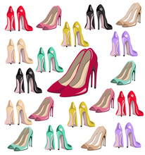 Sexy Lady Shoes Pumps Pattern Vector Set Colorful, Summer Style