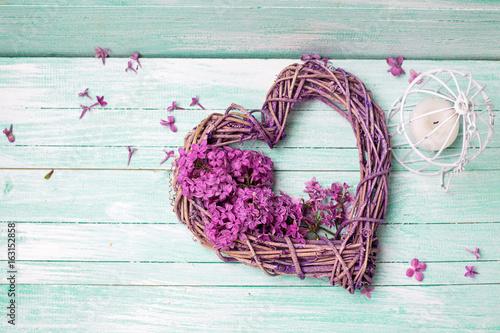 Plakat Fiołkowe lili kwiaty, dekoracyjny serce i lampion na turkusowym drewnianym tle ,.