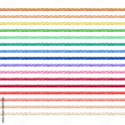 Fototapeta Set of linen string vector in various colors