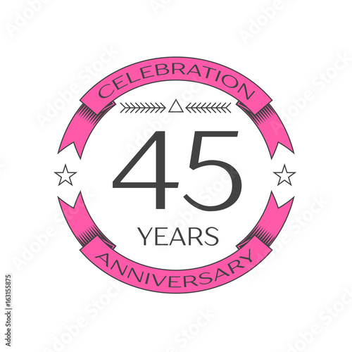 Photographie  Realistic forty five years anniversary celebration logo with ring and ribbon on white background