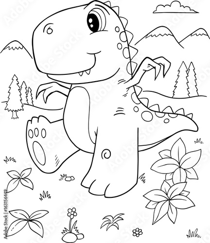 Foto auf AluDibond Cartoon draw Cute Dinosaur Vector Illustration Art
