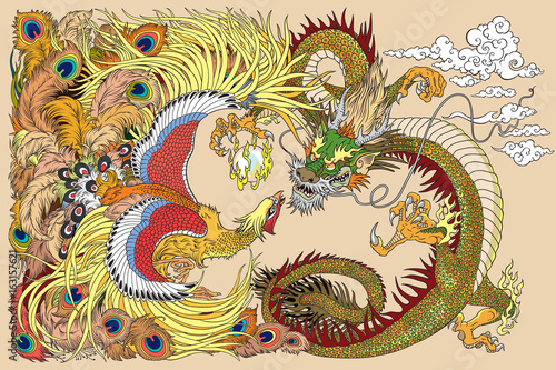 Chinese dragon and phoenix feng huang playing with a pearl ball Poster