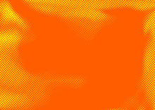 Bright Yellow Orange Dotted Comic Book Style Abstract Background. Old Halftone Pop Art Retro Graphic Page Layout Template
