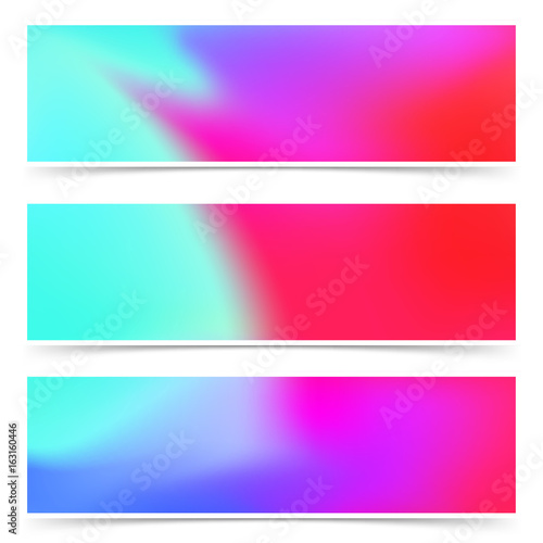 Bright fashion colorful pink and blue web headers flyers collection Wallpaper Mural