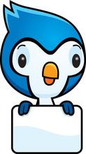 Cartoon Baby Blue Jay Sign