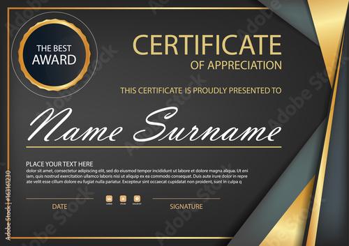 Black Gold Elegance Horizontal Certificate With Vector Illustration