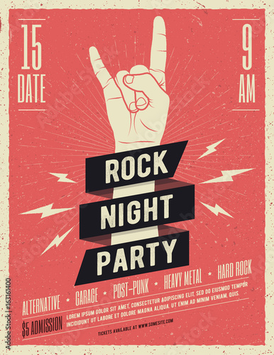 Photo Rock music festival flyer. Vector illustration.