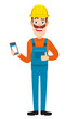 Builder holding mobile phone and showing thumb up
