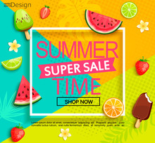 Summer Super Sale Banner With ...