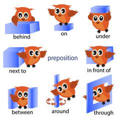 Fototapeta samoprzylepna preposition english grammar with Owl motion for preschool. vector illustration.