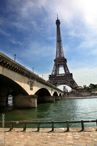 Photo Stands Paris View of Eiffel Tower and Pont d Lena along the River Seine