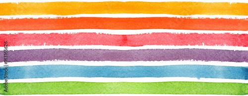 Materiał do szycia Wzór w paski poziome tęczy, malowane w akwarela na na białym tle
