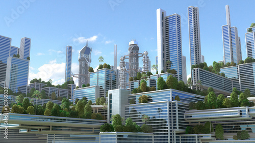 "3D Illustration of a futuristic ""green"" city with high rise buildings and terraces covered in vegetation, for environmental architecture backgrounds."