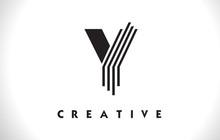 Y Logo Letter With Black Lines Design. Line Letter Vector Illustration