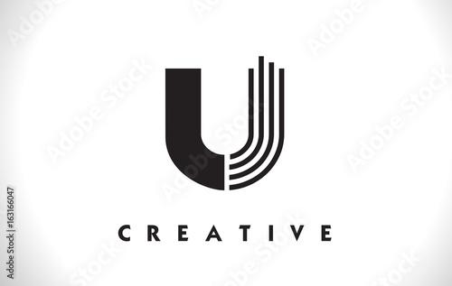 Photo  U Logo Letter With Black Lines Design