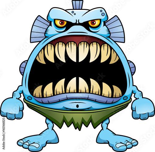 Angry Cartoon Fish Creature Canvas Print