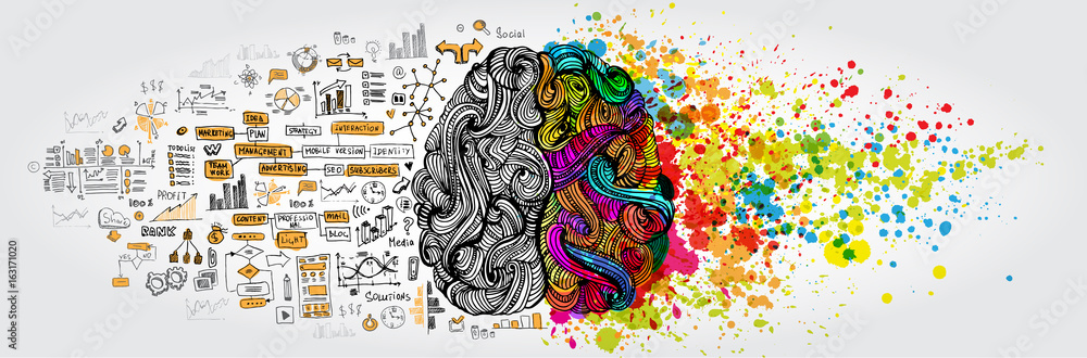 Fototapeta Left right human brain concept. Creative part and logic part with social and business doodle