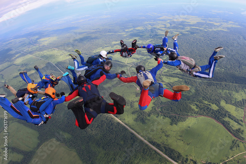 Poster Kaki The team of skydivers is in the sky