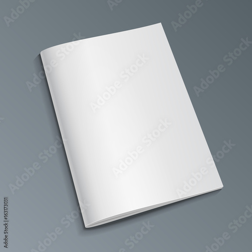 Fototapeta Blank Cover Of Magazine, Book, Booklet, Brochure. Illustration Isolated On Gray Background. Mock Up Template Ready For Your Design. Vector EPS10 obraz