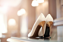 Beautiful Shoes For The Bride On A High Steel Heels