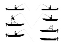 Silhouettes Of Anglers And Boats Type Jon. Side View. Flat Vector.