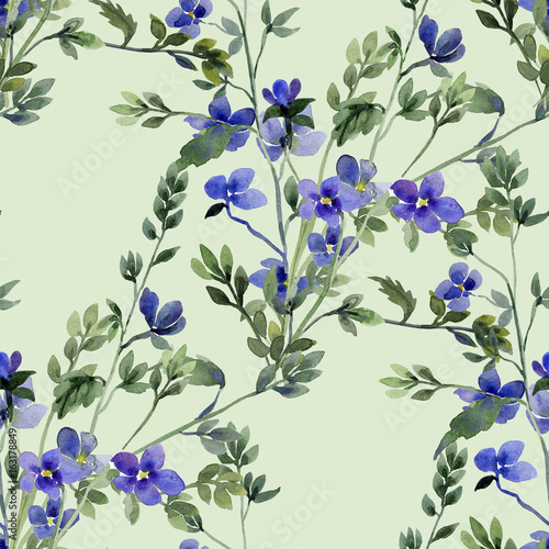 Fototapety, obrazy: Blue small spring flowers,image seamless pattern