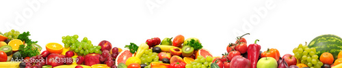 Poster Fruit Panoramic collection fresh fruits and vegetables for skinali isolated on white