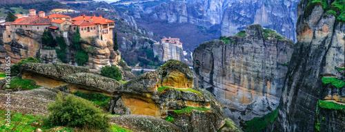 Fotobehang Oceanië Landmarks of Greece - unique Meteora with hanging monasteries over rocks