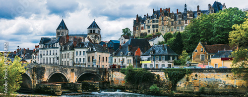 Photo  Travel in France- pictorial medieval town Saint-Aignan, in Loire valley region