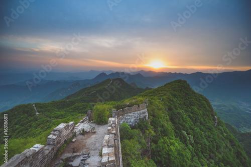 Stampa su Tela Great Wall of China, summer sunset