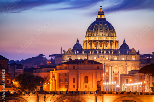 View to bridge and Vatican City at sunset. Rome, Italy Wallpaper Mural
