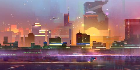 Fototapeta samoprzylepna drawn is a fantastic city of the future