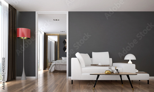 The interior of modern living room and bedroom service apartment design - fototapety na wymiar