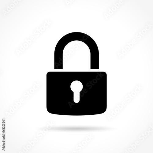 padlock icon on white background Wall mural