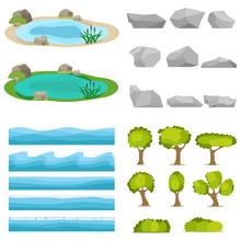 Lake, A Set Of Stones, Trees, A Set Of Seascapes, A Wave